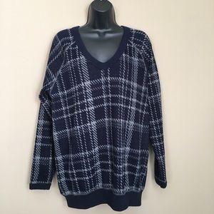 Navy Blue V Neck Oversized Plaid Sweater
